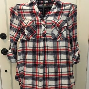 Red, White & Blue plaid flannel blouse Medium
